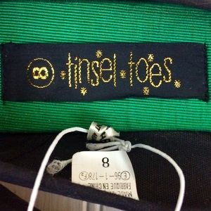 Tinsel Toes Shoes - NWT black velvet poinsettia Christmas holiday flat